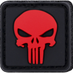 Patch Velcro PUNISHER rouge en gomme 3D