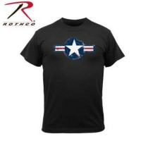 Tee shirt vintage ROTHCO Air Corps US  Star Noir