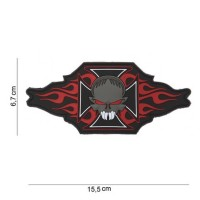 "PATCH 3D PVC "" MALTEZER CROSS + SKULL/FLAMES """