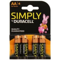 Pack de 4 piles Duracell Simply AA