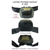 Lampe frontale militaire 4 leds