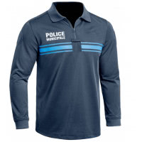 Polo Police Municipale P.M. ONE manches longues bleu